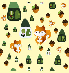 Seamless pattern with smiling squirrel vector
