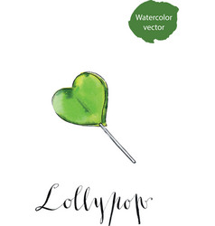 Colorful lollypop green heart candy love concept vector