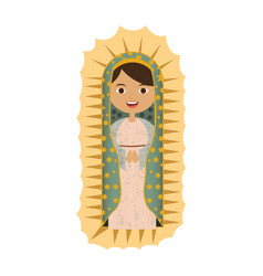 White background with canvas of pretty virgin of vector