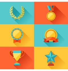 Trophy and awards in flat design style vector
