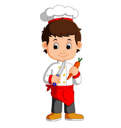Chef cook holding cleaver knife and carrot cartoon vector