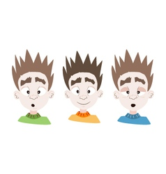 Three emotional boy faces vector