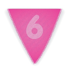 Bunting flag number 6 vector