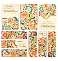 Set of doodle paisley posters for your business vector