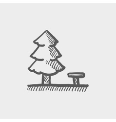 Pine tree sketch icon vector