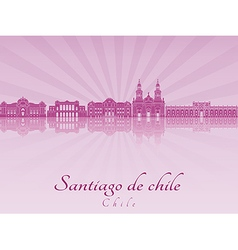 Santiago de chile skyline in purple radiant vector