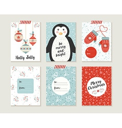 Merry christmas card set pattern retro cute bauble vector image