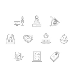 Christmas corporate event line icons set vector