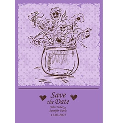 Wedding invitation with mason jar and pansy vector