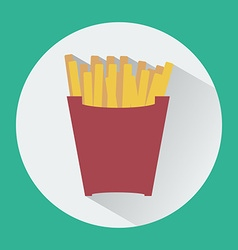French fries box round icon vector