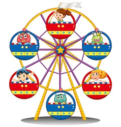 A carnival ride with monsters and kids vector image vector image