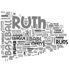 Babe ruth a short bio text word cloud concept vector