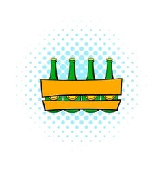 Beer wooden box icon comics style vector image vector image
