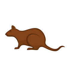 Big rat with brown fur isolated cartoon vector