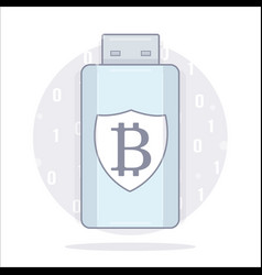 bitcoin wallet usb storage cartoon style vector image vector image