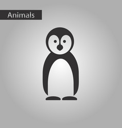 black and white style icon penguin vector image