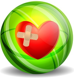 Broken heart with plaster vector image