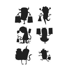 Cartoon silhouette monster shopping vector