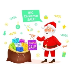 Christmas sale santa claus holding xmas gift vector