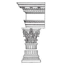 Corinthian pillar scrolls vintage engraving vector