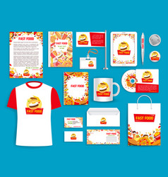 corporate identity items for fast food vector image vector image