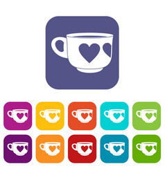 Cup icons set flat vector