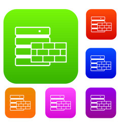 database and brick wall set collection vector image