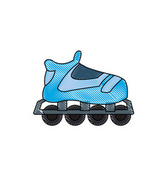 Drawing blue skate sport wheels vector