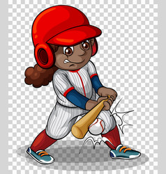 Female baseball player on transparent background vector