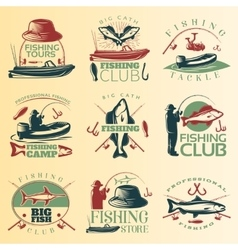 Fishing Colored Emblem Set vector image