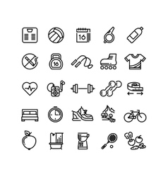 Fitness health sport outline icons vector