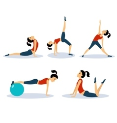 Fitness women workouts set vector