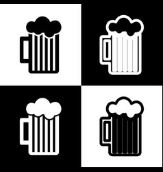 Glass of beer sign black and white icons vector