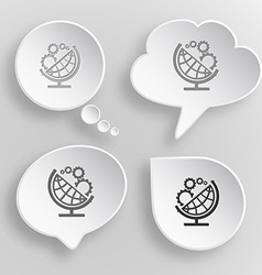 Globe and gears White flat buttons on gray vector image vector image