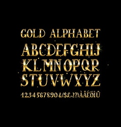 Golden English alphabet vector image
