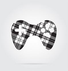 Grayscale tartan isolated icon - gamepad vector