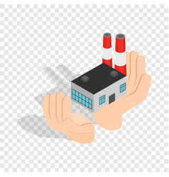 Hands holding a chemical plant isometric icon vector