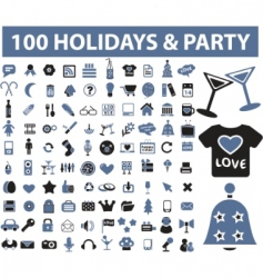 holiday party icons vector image vector image