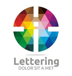 Logo Abstract Lettering I Rainbow Alphabet Icon vector image