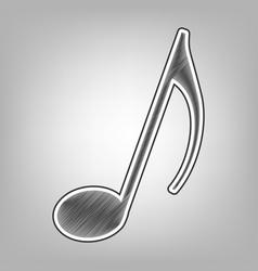 Music note sign pencil sketch imitation vector