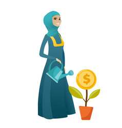 Muslim business woman watering money flower vector