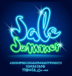 Neon light shopping promo poster sale summe vector