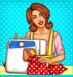 pop art of a young woman vector image
