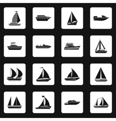 Sailing ship icons set simple style vector image