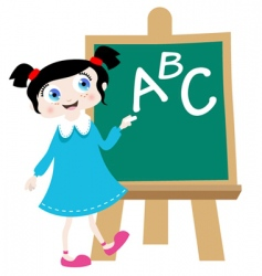 school girl with blackboard vector image