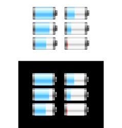 Set of batteries or cells showing the charge vector image vector image