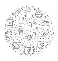 Sport outline symbols concept vector