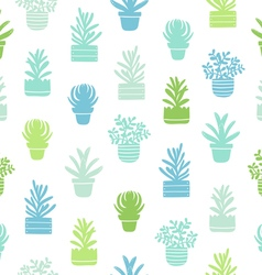 Succulents silhouettes simple pattern vector image