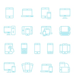 Thin lines icon set - responsive devices vector image