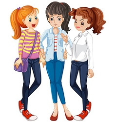 Three women hanging out together vector